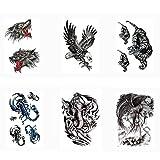 Pinkiou Erwachsene Tattoo Aufkleber, Wolf/Adler / Tiger/Skorpion / Drachen/Hexe, Tiere Körper Aufkleber für Männer Frauen (6er Pack)