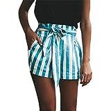Shorts Damen Sommer Btruely Mitte Waist Shorts Frau Streifen Strandshorts Sommer Mini Hot Hosen Lose Shorts (L, Hellblau)