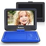 9' Tragbarer DVD Player 5 Stunden Akku NAVISKAUTO Auto Kopfstütze Monitor Kopfstützenhalterung SD/USB AV IN/OUT Blau (09001L)