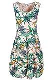PEKIVESSA Leinenkleid Damen Tropical-Design Sommer Knielang