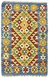 CarpetFine: Kelim Afghan Teppich 56x92 Blau - Geometrisch