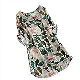 QUINTRA Damen Sommerkleid Leinen Baumwolle Blumendruck Minikleid Party Langarm Kleid Plus Größe