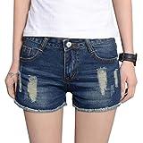6080ac088716af Cayuan Damen Distressed Hotpants Kurze Jeans mit Taschen Sommer Denim Kurze  Hosen Jeans Bermuda Shorts Blau