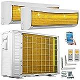 A++/A++ DuoSplit WiFi/WLAN Golden-Fin 9000+12000 BTU MultiSplit Klimaanlage INVERTER Klimagerät und Heizung