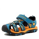 NASONBERG Kinder/Jungen/Mädchen Schuhe Klettverschluss Sommer Sandalen, Gr.-35 EU, Blau