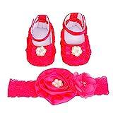 Xinan Baby Schuhe, Baby-Kind-Schuh + Stirnband Set (11, Hot Pink)