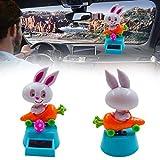 VelvxKl Auto-Armaturenbrett, kreatives Cartoon-Hase, Karotte, solarbetrieben, tanzende Figuren, einfarbig, Einheitsgröße