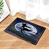 best& Halloween Decor, Witch Riding a Broom Against Full Moon Bath Rugs, Non-Slip Doormat Floor Entryways Indoor Front Door Mat, Kids Bath Mat, 15.7x23.6in, Bathroom Accessories