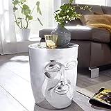 FineBuy Beistelltisch Maka 32,5x39x35 cm Aluminium Couchtisch Silber Orientalisch | Sofatisch mit Gesicht aus Metall | Designer Ablagetisch Modern | Kleiner Anstelltisch Schmal