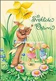Doppelkarte mit Umschlag NINA CHEN * Tanzende Hasen * Fröhliche Ostern