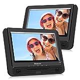 NAVISKAUTO 9 Zoll DVD Player Auto 2 Monitore Tragbarer DVD Player mit zusätzlichem Bildschirm 5 Stunden Akku TFT Display Kopfstütze Monitor Fernseher Dual Bildschirm PD0921B