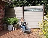 WPC / BPC Sichtschutzzaun bi color-weiß 4 Zäune inkl. 5 Pfosten in dark grey und Verglasung Sichtschutz Gartenzaun Zaun terrasso