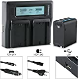 Blumax Akku für Sony NP-F980 / F970 / F750 / F550-10050mAh mit 5V USB Ausgang (Powerbankfunktion) und DC Strom-Eingang + Doppelladegerät Dual Charger || KFZ 2 Akkus gleichzeitig Laden