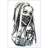 EROSPA Tattoo-Bogen temporär - Frau Nase Mund verhüllt 20 x 15 cm
