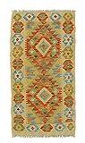 Nain Trading Kelim Afghan 91x50 Orientteppich Teppich Läufer Beige/Braun Handgewebt Afghanistan