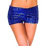 Pailletten Shorts Luckycat Sommerhosen Damen Kurz Mode Frauen Hohe Taille  Yoga Shiny Sport Hosen Shorts Metallic d54083baed