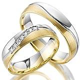 2 x 333 Trauringe Gold Bicolor Weißgold Eheringe Massiv Paarpreis LM.10.375 Weißgold Trauringe Paarpreis vom Juwelier Echtes Gold Verlobunsringe Wedding Rings Trouwringen