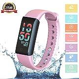 Fitness Armband,Fitness Tracker Bluetooth WristBand Activity Tracker Pulsmesser Schrittzähler Blutdruck-Test Wasserdichte kapazitive Touch-Sensor mit bunten für Android und iOS Smartphones