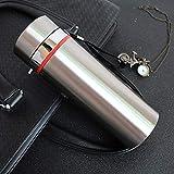 WJNGQJKXKIJ isolierbecher Travel Mug Edelstahl-Isolierkanne große Kapazität 1l Edelstahl-Isolierflasche High-End-Geschäft Wasser Tasse Logo Geschenk, Wahre Farbe, 1L
