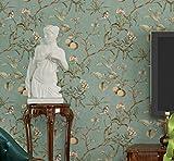 CCFENG PVC-Tapete Vintage Alten Vogel Tapete Muster Schlafzimmer Wohnzimmer Hintergrund Vliestapete Pastoralen Tapeten High-End-Aufkleber,LightBlue