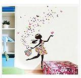 JUNMAONO Blumenfee&Elf Wandaufkleber/Wandgemälde/Wand Poster/Wandbild Aufkleber/Wandbilder/Wandtattoo/Pinupbild/Beschriftung/Pad einfügen/Tapete/Tapezieren/Tapeten/Wand Zeitung/Wandmalerei/Haftnotiz/Fühlen Sie sich frei zu kleben/Instant Aufkleber/3D-Stereo-Wandaufkleber (wudao)