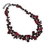 Jerollin Schoene Damen Halskette Collier Chokerkette Bib Kette Trachtenschmuck Halsreif aus Roten Kristallen Statement Kette Barock Perlenkette Weihnachten Geschenk