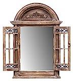 amadeco Spiegelfenster Rundbogenfenster Spiegel mit Fensterläden - aus Holz - im Landhaus Stil - Braun