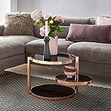 FineBuy Design Couchtisch Circle ø 45cm Rund Glas Kupfer mit Ablage | Wohnzimmertisch 3 Ebenen Glasplatte Schwarz | Beistelltisch Sofatisch Tisch Modern