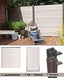 terrasso WPC/BPC Sichtschutzzaun bi-color weiß 5 Zäune, 1 Torelement inkl. 7 Pfosten Sichtschutz Gartenzaun