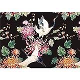 decomonkey Fototapete Blumen Japan Asien Orient 300x210 cm XL Design Tapete Fototapeten Vlies Tapeten Vliestapete Wandtapete moderne Wand Schlafzimmer Wohnzimmer Schwarz Rose Vogel Weiß
