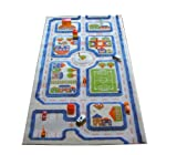 Little Helper 121MD033MA80153 Hypoallergener dicker 3D-Kinderspielteppich - Farbenfrohes Design Stadtverkehr mit dreidimensionalem Fußballplatz, Parkplätzen und Straßen, 80 x 150 cm, blau