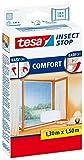 tesa Insect Stop COMFORT Fliegengitter für Fenster / Insektenschutz mit selbstklebendem Klettband (130 cm x 150 cm / 5er Pack, Weiß)