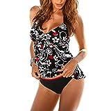 iBaste Tankini Damen Push Up mit Bügel Neckholder Bikini damen Badeanzug Bikini Set-2XL