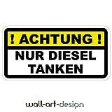 '! ACHTUNG ! NUR DIESEL TANKEN' Aufkleber Tankdeckel Warnung selbstklebender PVC Vinylaufkleber für PKW, LKW etc.