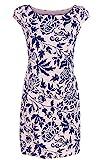 GS-Fashion Leinenkleid Damen Sommer mit Blumen Kleid ärmellos Knielang