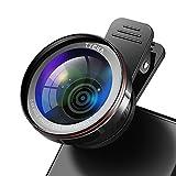 Tycka Handy-Kamera Objektiv-Kit Pro, 120° 0,4X keine Verzerrung Weitwinkelobjektiv, 15X Makro Objektiv, tragbare Tasche und Mikrofaser Reinigungstuch für iPhone Samsung Sony Google Nexus Pixel Tablets Smartphones und viele Weitere mehr