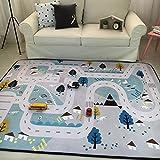 VClife Teppiche Polyester Matte Kinderteppich Baby Krabbeldecke Kinder Spielteppich Geschenk Yoga Teppich Picknick Matte 150 x 200cm Dorf