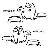 Simons Cat Aufkleber Bitte Tanken Futter für z.b Tankdeckel Ohne Aufruck im Napf Outline Tankdeckel Links oder Rechts (silbergrau glänzend, Tankdeckel Links)