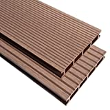 XINGLIEU Baustoffe WPC Terrassendielen mit Zubehör 30 m2 2,2 m braun Terrassendielen mit unterschiedlichen Mustern auf jeder Seite