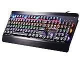 moobom Mechanische Gaming-Tastatur, 104Tasten Blau Schalter mit Keine Konflikte und 9Modell RGB Symphony Hintergrundbeleuchtung-Keyboard für Professionelle Gamer [Wasserfest]