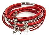 Wickelarmband mit Strass und Hirsch Anhänger - Rot