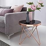 WOHNLING Design:eistelltisch Dreibein Metall Glas ø¸ 42 cm Schwarz/Kupfer | Wohnzimmertisch verspiegelt Sofatisch Modern | Glastisch Kaffeetisch Rund