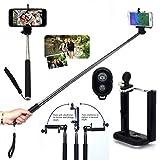 Wigento Selfie Teleskop Stange Stick Bluetooth für viele Smartphones