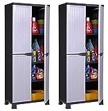 Hier passt viel rein: 2 Stück Kunststoffschrank Modell'Noble'. Jeder Schrank mit 3 höhenverstellbaren Einlegeböden, 4 Füßen und abschließbaren Türen! Maße pro Schrank: 68 x 40 x 171 cm