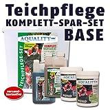 AQUALITY Komplettset Teichpflege-Set BASE (GRATIS Lieferung innerhalb Deutschlands - Perfekte Pflege für Ihren Gartenteich. Wasseraufbereiter, Teichklärer, Teich-Aktiv und Fadenalgenvernichter im Spar-Set + GRATIS Filtervlies)