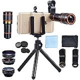 APEXEL 4in1 Handy-Objektiv-Kit 12x Teleobjektiv + 198 Grad Fisheye Objektiv + 15X Makroobjektiv und 0.63X Weitwinkelobjektiv für iPhone Samsung HTC und das meisten Android-Smartphone