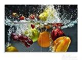 Wallario Herdabdeckplatte / Spritzschutz aus Glas, 2-teilig, 80x52cm, für Ceran- und Induktionsherde, Motiv Früchte im und unter Wasser - Splashing Fruits