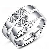 1 Paar Verlobungsringe Partnerschaftsringe Damen Herren 925er Sterling Silber Hypoallergen Liebe Herz Glitzer Zirkonia Hochzeit Trauringe Memoir-Ringe Verstellbar