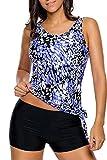 ALICECOCO Damen Sportlich Bunt Sommer Yoga Fitness 3-Teilig/Zweiteilig Tankinis mit Shorts Strand Bikini Set mit Top (Blau, EU 40-42 ( XL ))