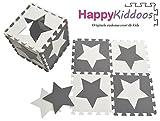 Happykiddoos Puzzlespielmatte 10 Foam Matte. Spielmatte Schaumstoff Verriegelung Puzzle Kinderteppich. Jede Matte Hat Eine Größe von 30x30cm und ist 1 cm dick (Stern, Grau/weiß)